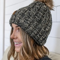 Winter Break Beanie - Black & Natural
