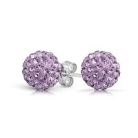 Bling Jewelry Silver Plated Simulated Amethyst Crystal Stud Earrings Shamballa Inspired 8mm