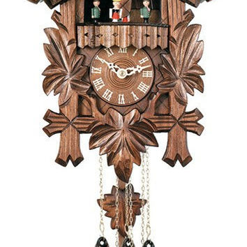 "Dancers, Bird & Five Hand-carved Maple Leaves-14"" Tall One Day Clock"