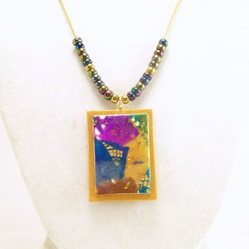 Modern Art Pendant Necklace~ Polymer Clay Jewelry