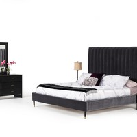 Modrest Hemlock Modern Grey Velvet Bed