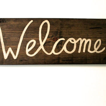 Custom Stained Welcome Wooden sign, Wall decor, Handmade Sign, Wedding Gift, Welcome Sign
