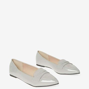 Grey PU 'Paisley' Pointed Loafers | Dorothyperkins