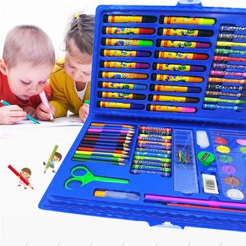 42/86 Pc Children Combination Painting Tool Set Water-color Powder Pen Crayon Canvas For Kids Drawing School Supplies Stationery