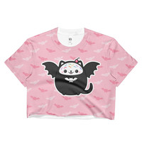 Spooky Kitty Cat With Bat Wings |  Pastel Goth Ladies Crop Top | Kawaii Grunge Clothes