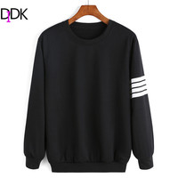 2016 Newest Casual Spring Fashion Women's Black Long Sleeve Round Neck Varsity-Striped Streetwear Pullover Sweatshirt
