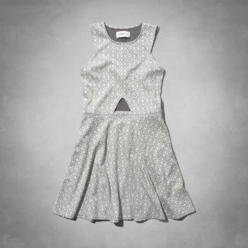 jacquard cutout skater dress