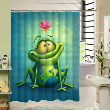 Cool Frog Shower Curtain Green Polyester Waterproof Mildewproof Animal 3d Pattern Fabric Curtain for Home Kids Bath Products