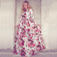 New 2015 Women Summer Maxi Dress Long Sleeve O-neck Red Vintage Flower Print Party Long Dress vestidos longos