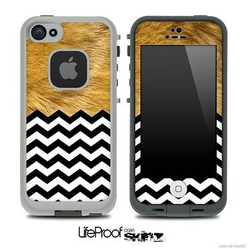Mixed Furry Animal and Chevron Pattern Skin for the iPhone 5 or 4/4s LifeProof Case