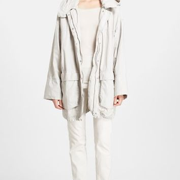 Women's Donna Karan New York Hooded Coated Linen Parka