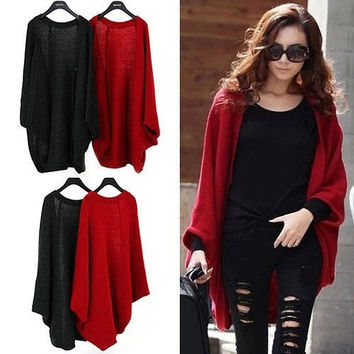 Women Lady Loose Knitted Cardigan Oversized Batwing Sleeve Sweater Outwear Tops