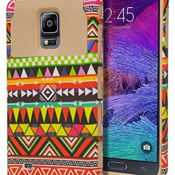 Samsung Galaxy Note 4 Hybrid  Silicone Cover  Tribal Aztec Case
