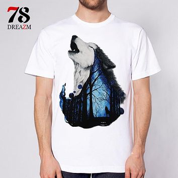 wolf t-shirt Men funny male Printed T Shirt tattoo snow wolf animal top tees