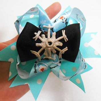 Once Upon A time Fairytale Frozen Olaf Snowflake Hairbow alligator clip
