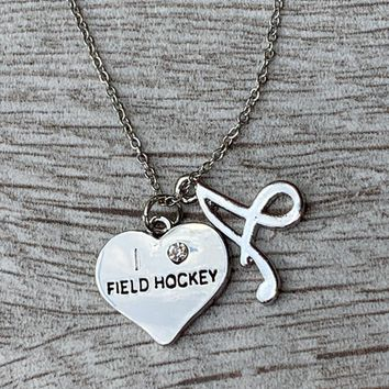 Love Field Hockey Necklace with Letter Charm