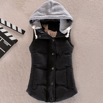 Wool Hooded Zip Up Buttoned Padded Vest Jacket