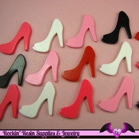 5 pcs HIGH HEEL SHOE Girly Resin Flatback Decoden Cabochon 25x30mm