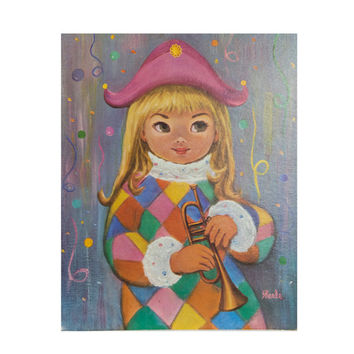 Vintage Big Eyes Harlequin Girl Litho Print Nicole by Sherle