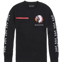 Black Scale Redline Warrior Long Sleeve T-Shirt - Mens Tee - Black