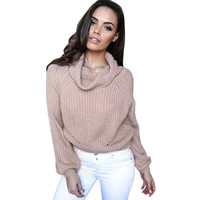 Women Sweaters and Pullovers Solid Long Sleeve Knitted Loose Sweater Jumper Crop Top Basic Shirt #LSW