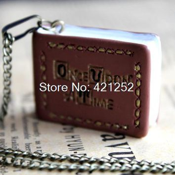 10pcs Once upon a time book necklace, jewelry, gift in bronze tone