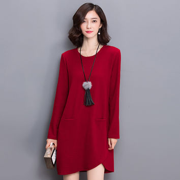 2016 Autumn Winter Ladies Fashion Korean Style Dress New Autumn Large Size Loose Women Dress Fat Mm Slim Temperament Knit Dress
