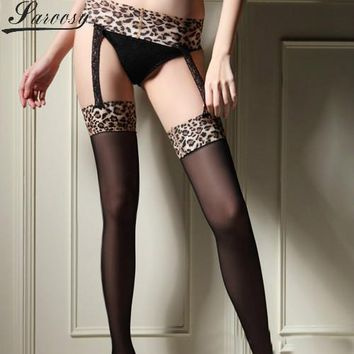 2017 New Garter Stocking for Women Hot Sheer Tight Slim Lace Leopard Stockings Transparent Over Knee Stocking Pantyhose