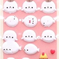 white seals felt sponge stickers by Q-Lia from Japan - Animal Stickers - Sticker - Stationery