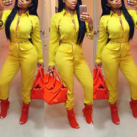 Yellow Long Sleeves Elastic Waist Lapel Jumpsuit