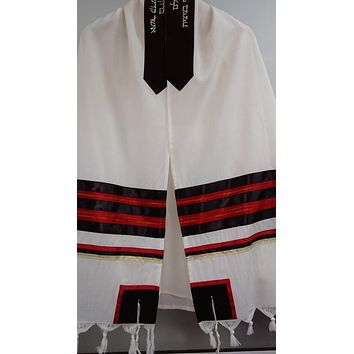 Black And Red Wool Tallit