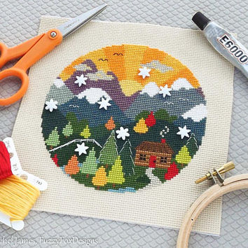 Woodland Cottage Easy Beginners Cross Stitch Pattern PDF