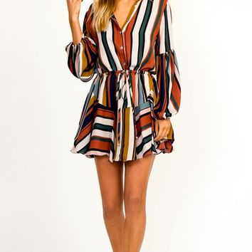 In The Game Multicolor Vertical Stripe Pattern Long Sleeve Button Front Drawstring Waist A Line Casual Mini Dress