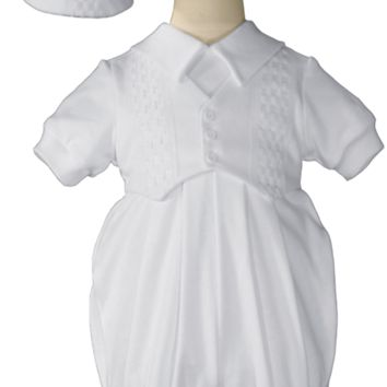 Windowpane Trim 100% Cotton Knit Christening or Celebration Romper Outfit (Baby Boys Newborn to 20 lbs)