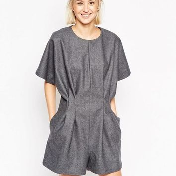 ASOS White Seam Detail Wool Mix Playsuit- SALE!!!
