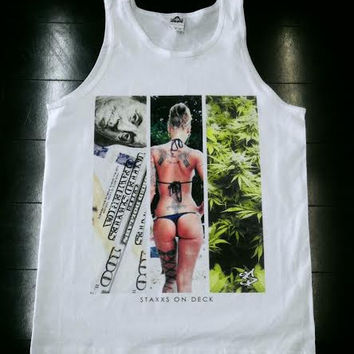 THREE W'S TANK WHITE (Wealth, Women and Weed)