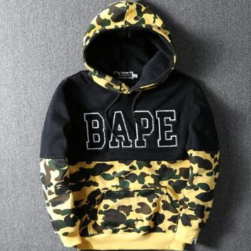men Women's Tide Brand Men Hoodies Autumn And Winter New Pattern Shark Personality Street Military Wind Camouflage Loose Coat APE