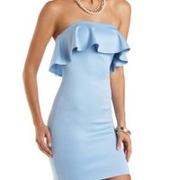 Strapless Bodycon Dress with Ruffle by Charlotte Russe
