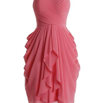 Topwedding Women Sweetheart Chiffon Ruched Bridesmaid Dress Short Prom Gown Party Dress