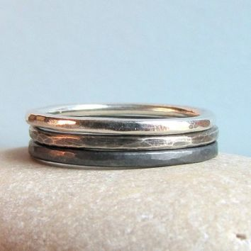 Silver Stacking Rings Hammered Silver Rings Black Gray Ombre Rings