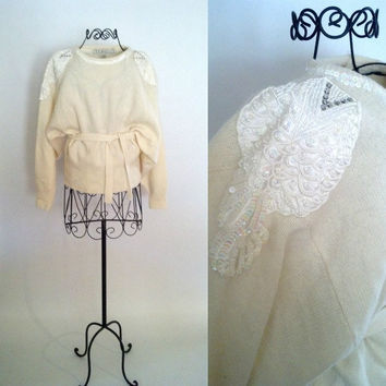 Vintage 80s Sweater // Cream Ivory Sequin Glitter Sweater with Tie Waist // Hipster Sequin Patch Sweater