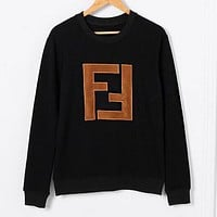 FENDI Autumn Winter Fashionable Women Men Casual Double F Letter Embroidery Long Sleeve Round Collar Sweater Top Sweatshirt Black