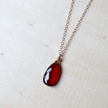 Gorgeous, Orange-Red, AA Hessonite Garnet Pendant, Pear-Cut Briolette on 14k Rose Gold Filled, Dainty Chain, Gift, Garnet Necklace, Natural
