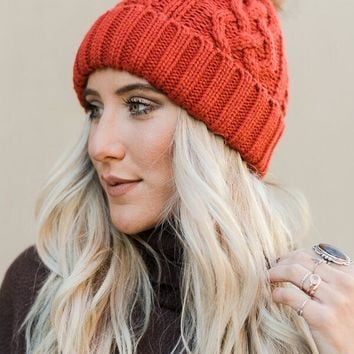 Cable Knit Fur Pom Beanie - Rust