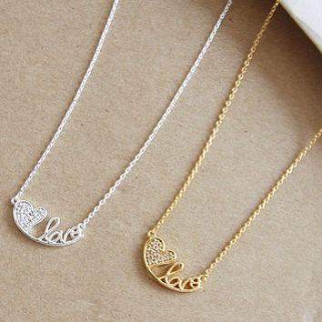 Love Necklaces, Girls Gift, Couple Necklace, Korean Jewelry, Cute Necklace, Heart Necklace, Couple Jewelry