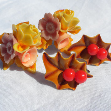 1940s Fall Earrings Two Pair Screw Back Celluloid Plastic Floral Bouquet Holly Leaf Berries Autumn Harvest Yellow Red Orange Brown Seasonal