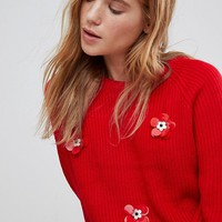 The English Factory Chunky Jumper With Applique Flowers at asos.com