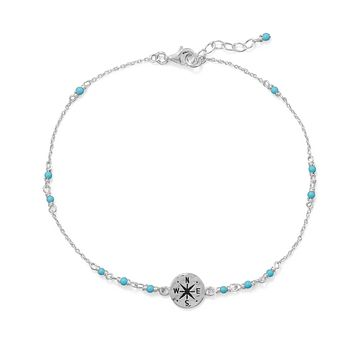 Sterling Silver Blue Beaded Anklet with Compass Charm