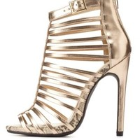 Super Strappy Caged High Heels by Charlotte Russe