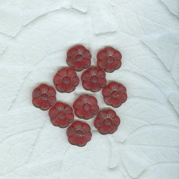 14 MM Matte  Cranberry Red Vintage Pressed Glass Flower Beads German 1990s
